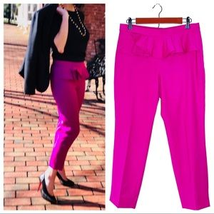 J. CREW Magenta Wool Ruffle Waist Cropped Trousers